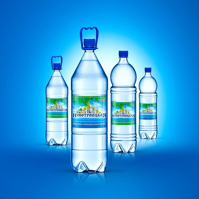 3D-визуализация пэт-бутылок минеральной воды «Новотроицкая»