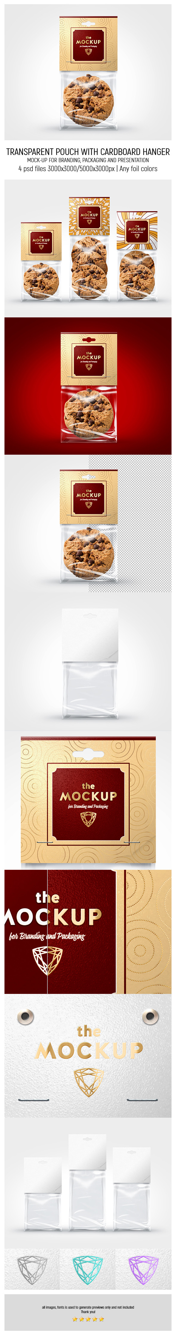 Transparent Pouch With Cardboard Hanger MockUp