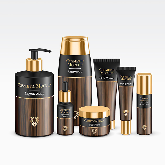 Gold Cosmetic Packaging MockUp
