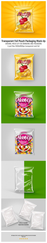 Transparent Foil Pouch Packaging MockUp