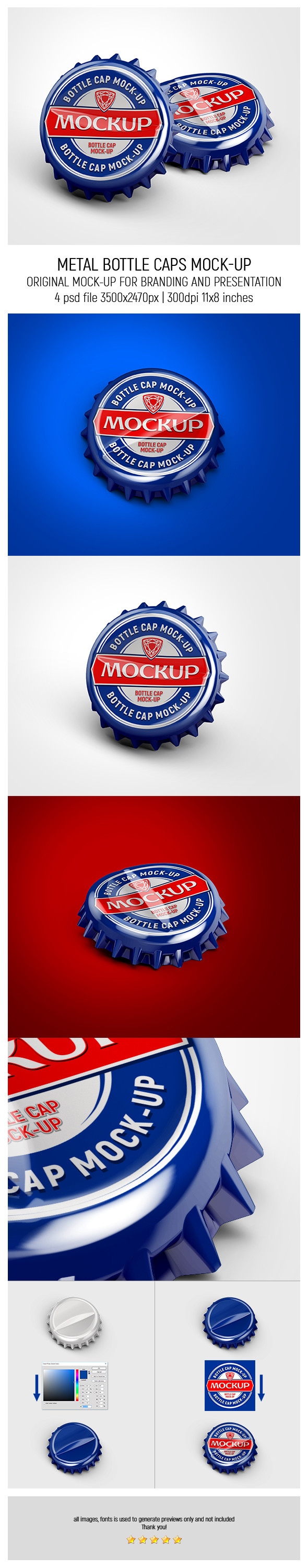 Metal Bottle Caps MockUp