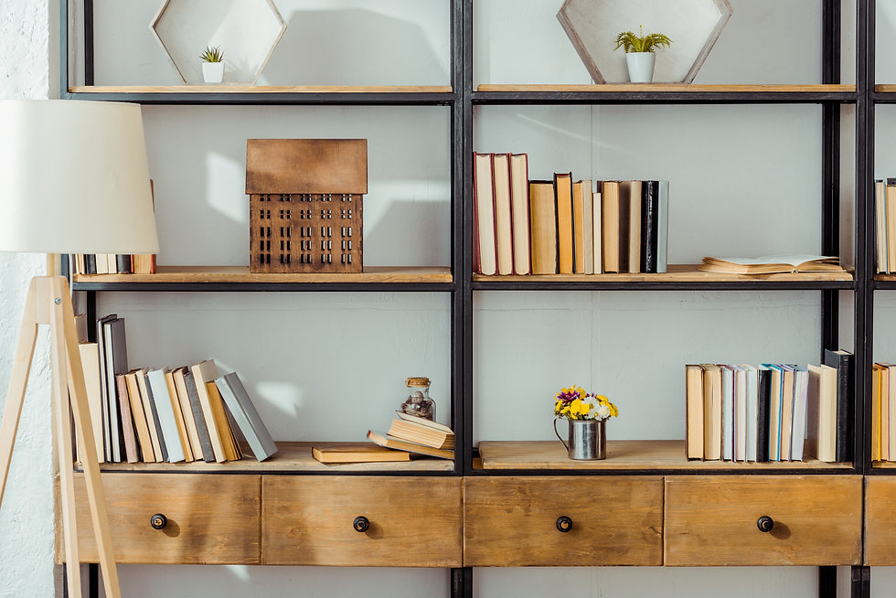 close up of wooden rack with books in li