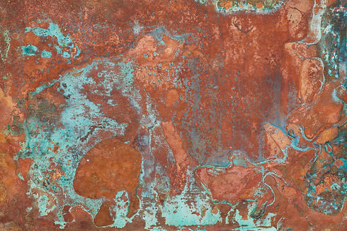 Aged copper plate texture with green pat