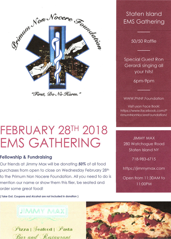 Primum Non Nocere Foundation Dine Out at Jimmy Max's next Wednesday February 28th 2018