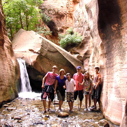 Family on Private Tour of Kanarraville Falls Happy Trails Adventure