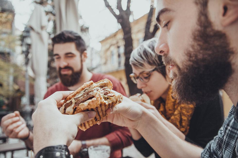 enjoying our sandwiches