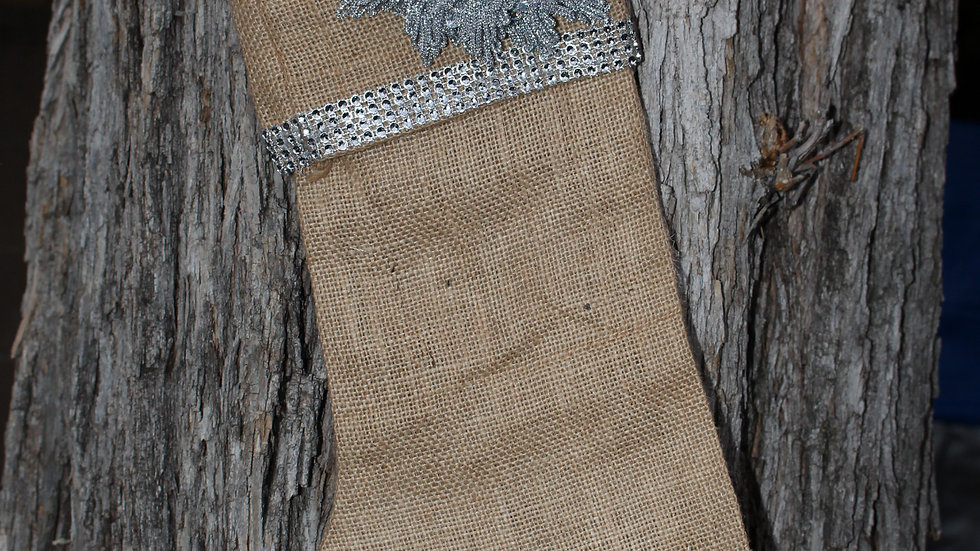 Burlap Stocking with Silver Flower