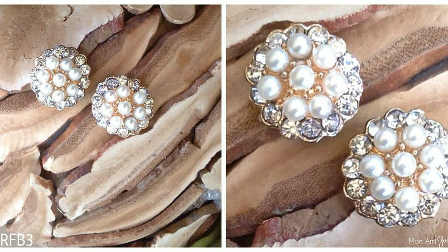 Round Couture Brooch-Flat Back