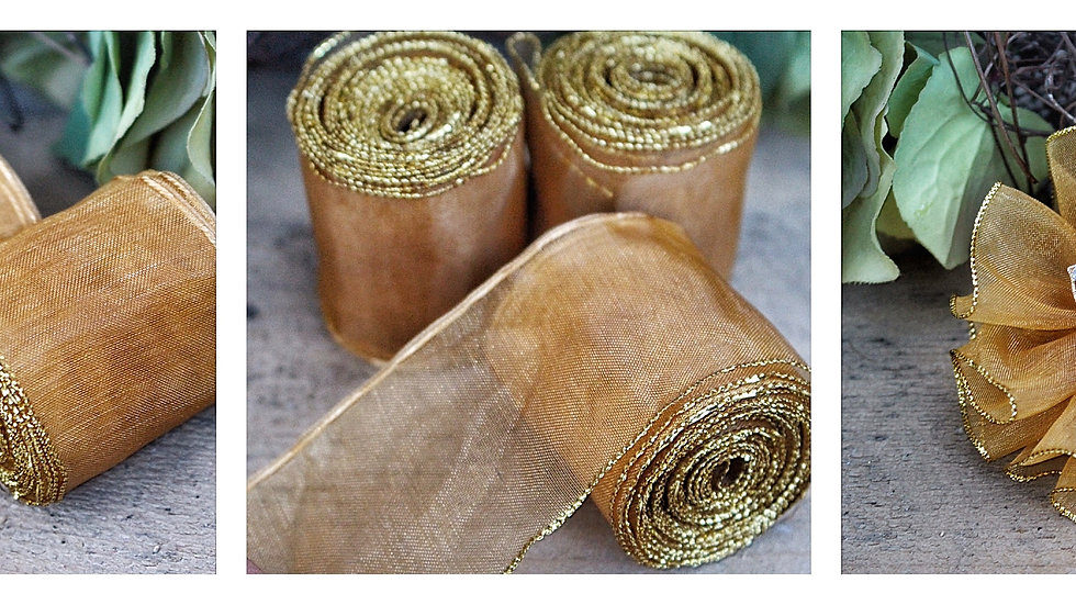 Pull Ribbon Organza Gold Edge