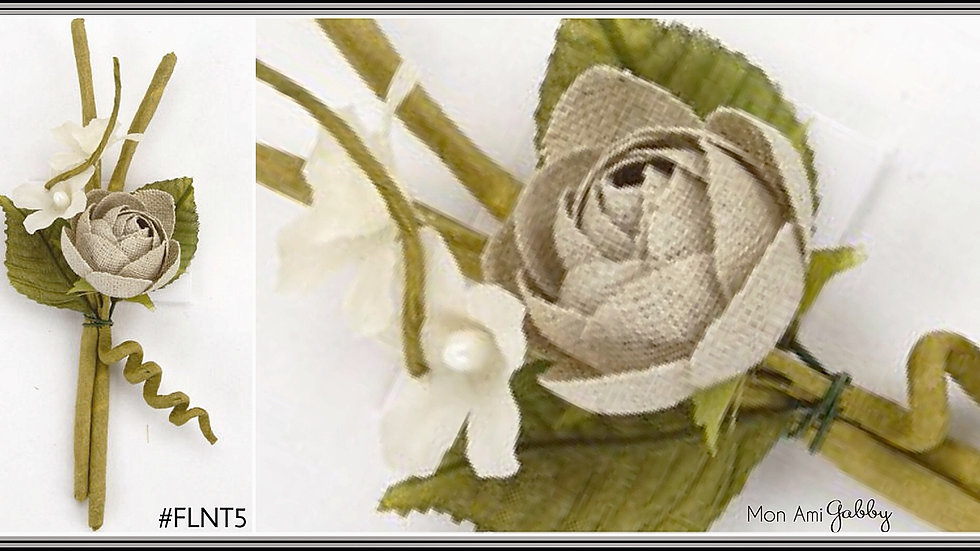 Burlap Linen Flower Twig Spray