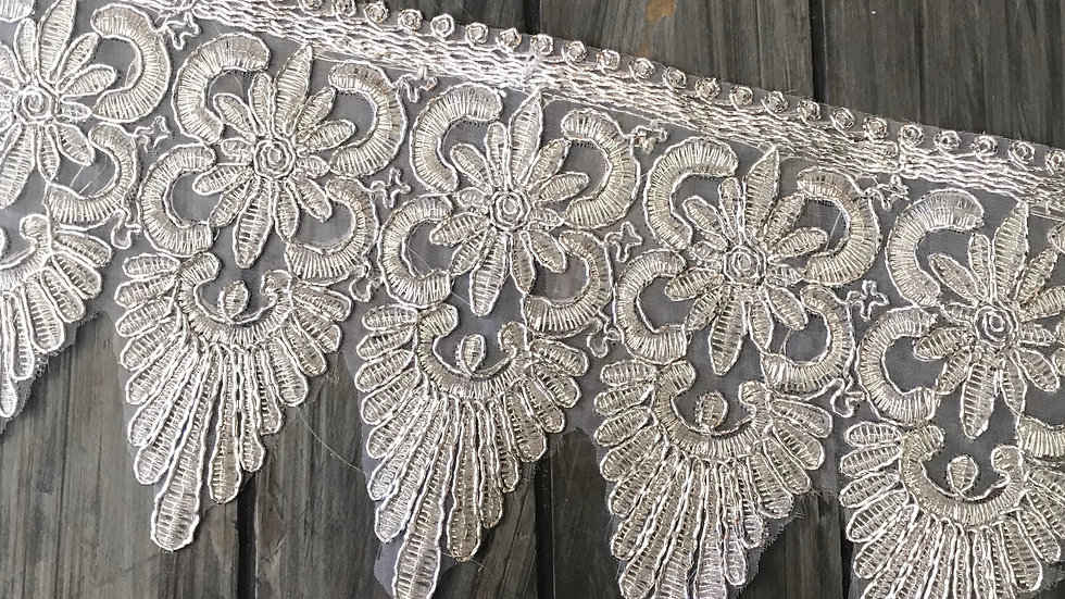 Embroidered Silver Lace