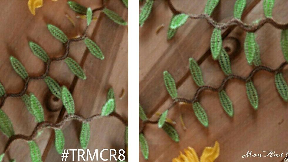 #TRMCR8-Embroidered Leaf Trim
