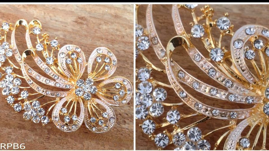 "3"" Gold Crystal Flower Pin Back Brooch"