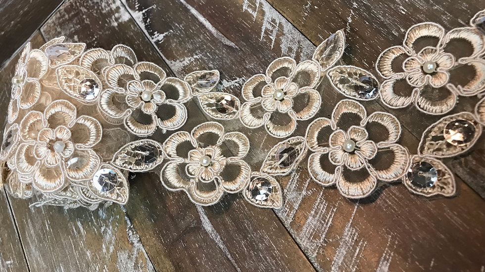 Couture Flower Embroidered Trim