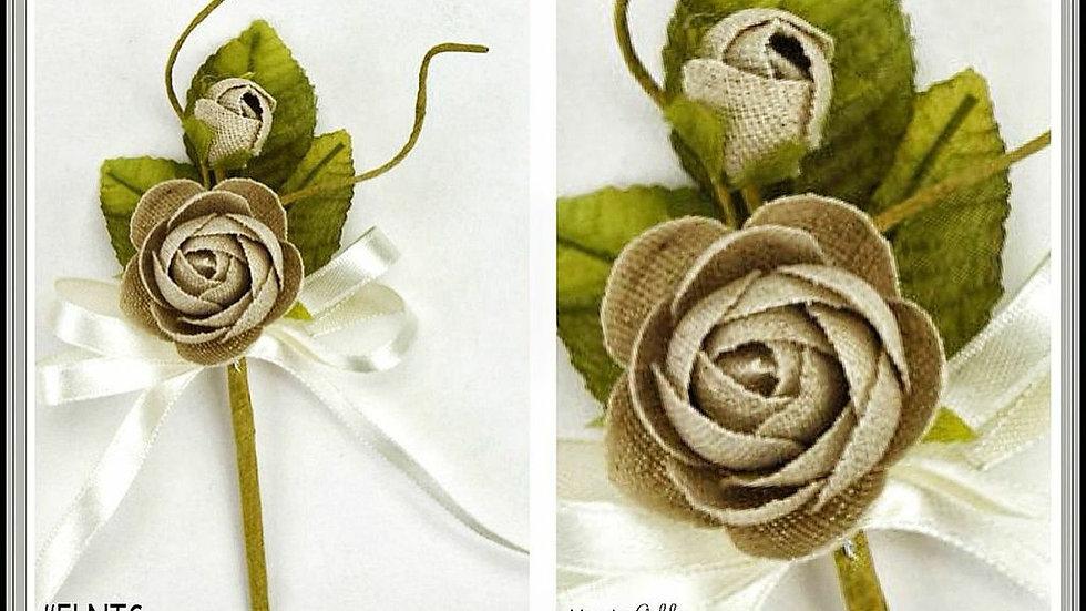 Burlap Linen Rose Twig