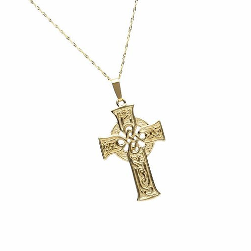 10K Gold Carved Scripture Cross