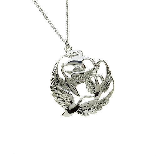 Sterling Silver Graceful Swans Pendant