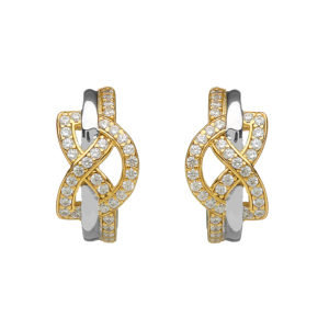 Silver w/Gold Plate Two Toned Love Knot Earrings