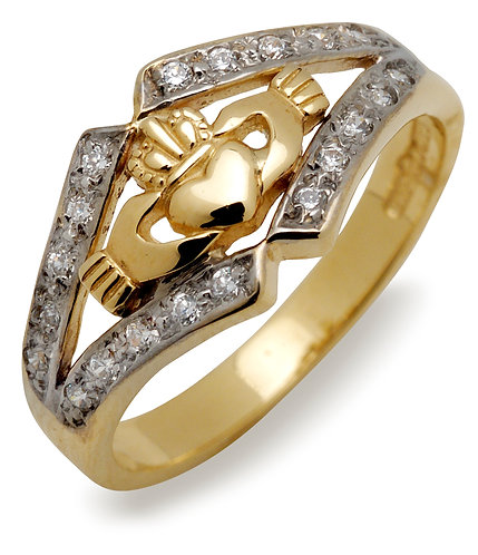 10 K Gold & CZ Claddagh Band