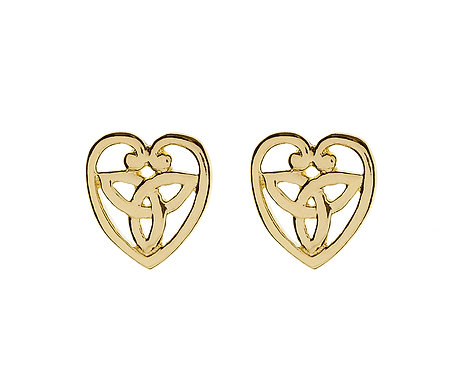 10K Gold Trinity Heart Stud Earrings