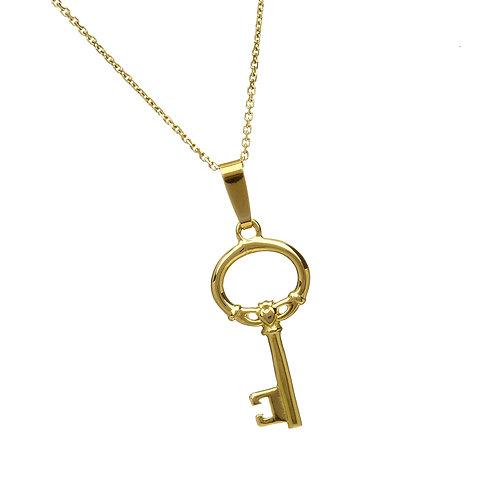10K Gold Claddagh Key Pendant