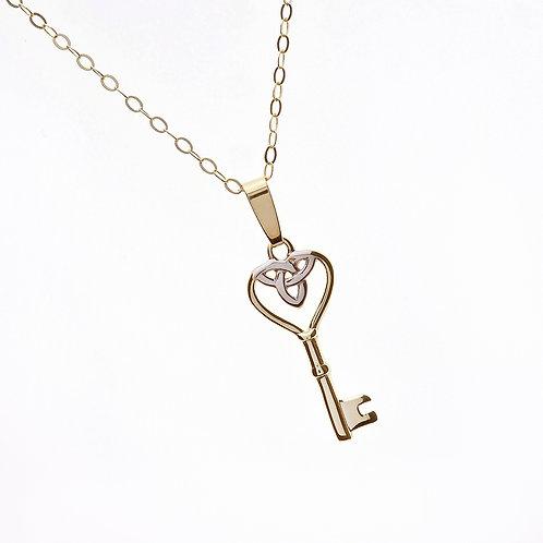 10K Trinity Heart Key Pendant