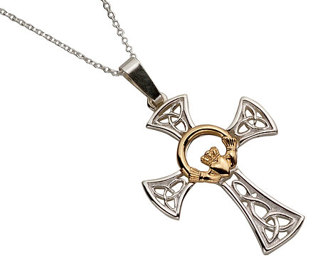 Sterling Silver & Gold Claddagh Cross