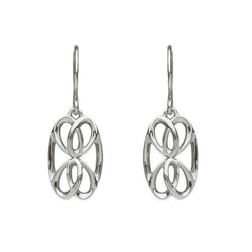 Silver 3D Oblong Knot Drop Earrings