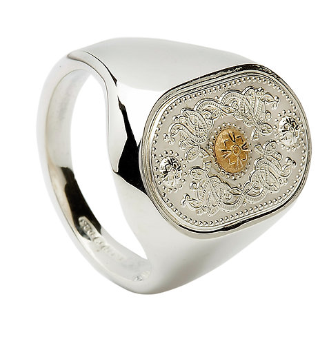 Sterling Silver Mens Celtic Shield Ring