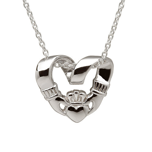 Sterling Silver Claddagh Curl Pendant