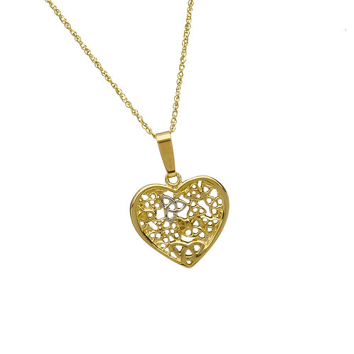 10 K Gold Trinity Filled Heart Pendant