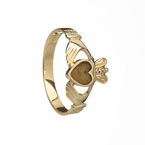 Ladies 10K Gold Claddagh Ring w/ Connemara Marble Heart