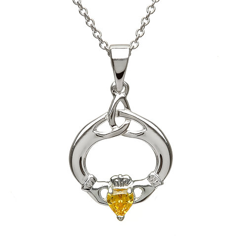 Sterling Claddagh Birthstone Pendant