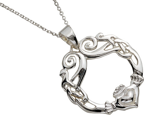 Sterling Silver Claddagh Knot Pendant
