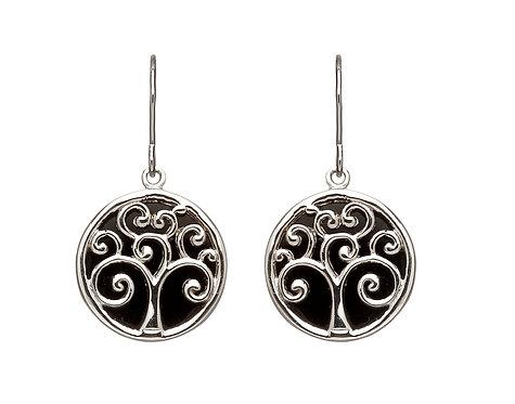 Silver & Black Onyx Tree of Life Earrings