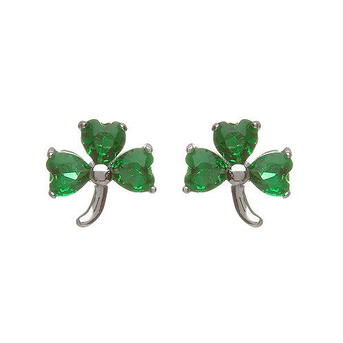 Sterling Silver CZ Shamrock Stud Earrings