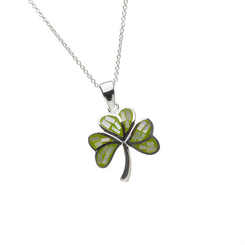 Sterling Silver Enamelled Shamrock