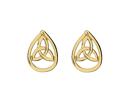 10K Gold Trinity Teardrop Stud Earrings