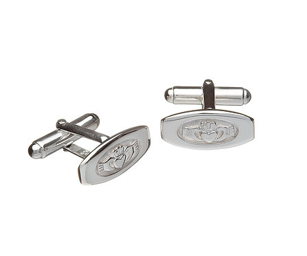 Sterling Silver Claddagh Embossed Cuff Links