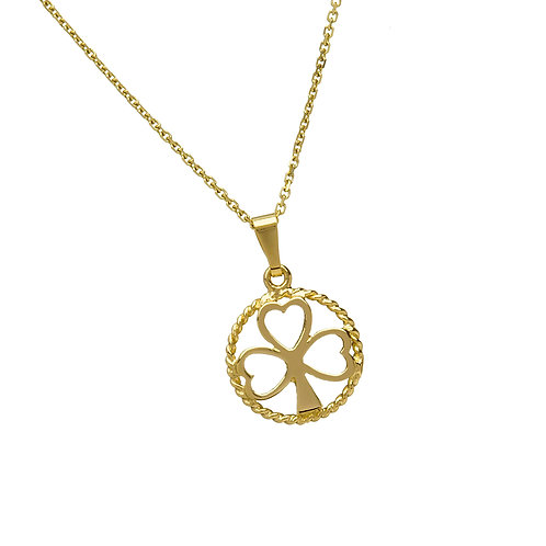 10K Handmade Gold Shamrock Circle