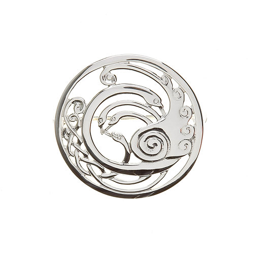 Silver Children of Lir Celtic Brooch