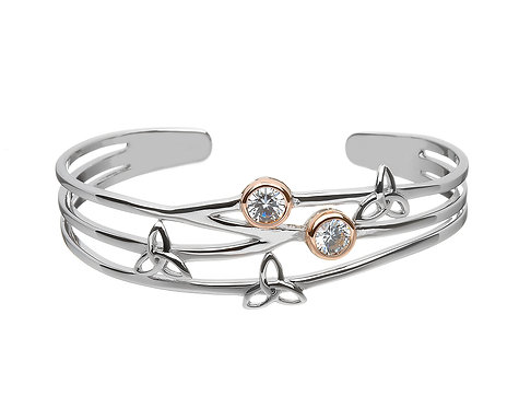 Solid Silver Torq Bangle with CZ & Rose Gold