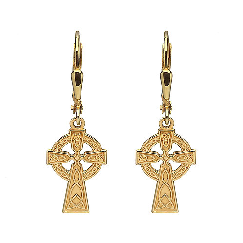 10K Gold Celtic Cross Earrings