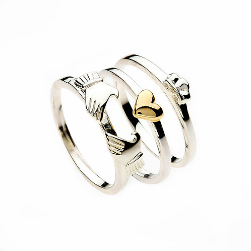 Silver Stacking Claddagh Ring & Gold Heart