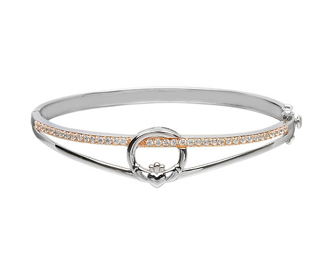 Sterling Silver Bangle with CZ & Rose Gold
