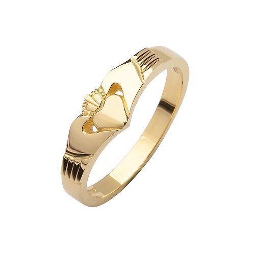 10K Yellow or Rose Gold Elegance Claddagh Ring