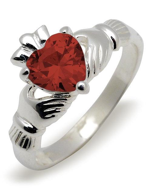 Sterling Silver Claddagh Birthstone Ring