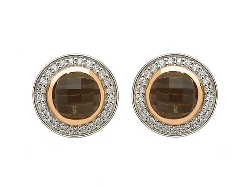Smoky Quartz & CZ studs with Irish Gold