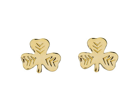 10K Gold Small Shamrock Stud Earrings