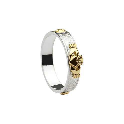 Silver Claddagh Band with 14K Gold accent